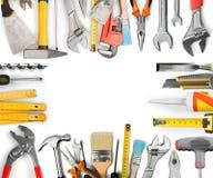 Vari strumenti della costruzione isolati su bianco Fotografia Stock Libera da Diritti