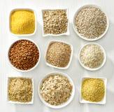 Vari tipi di chicchi di grano Immagine Stock