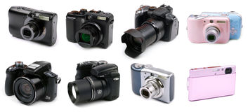 Vari tipi di macchine fotografiche Immagine Stock
