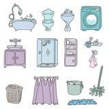 Vari tipi di mobilie per il bagno nello stile elegante Royalty Illustrazione gratis