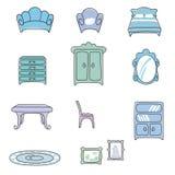 Vari tipi di mobilie per il salone nello stile elegante Illustrazione di Stock