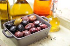 Vari tipi di olive Fotografia Stock