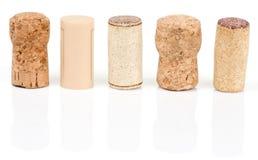 Vari tipi di sugheri del vino Fotografia Stock Libera da Diritti