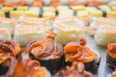 Vari tipi sushi Fotografia Stock