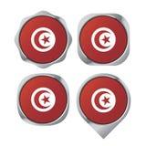 Variação de prata do botão da bandeira de Tunísia da cor ilustração do vetor