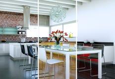 Variações da cor de Splitted de uma cozinha moderna com um projeto bonito Foto de Stock Royalty Free