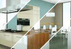 Variações da cor de Splitted de uma cozinha moderna com um projeto bonito Fotografia de Stock Royalty Free
