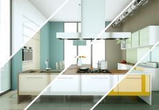 Variações da cor de Splitted de uma cozinha moderna com um projeto bonito Imagens de Stock Royalty Free
