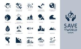 Variações diferentes dos ícones ambientais no tema da ecologia no estilo liso isolados no fundo ilustração do vetor