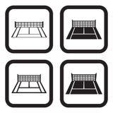Variações do ícone quatro do campo de tênis Fotografia de Stock
