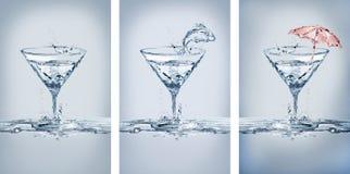 Variações dos vidros de Martini da água fotografia de stock