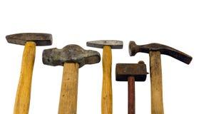 Varia accumulazione dello strumento del martello isolata su bianco Fotografie Stock Libere da Diritti