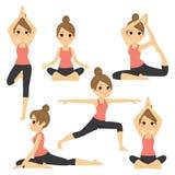 Varia donna di pose di yoga Immagini Stock