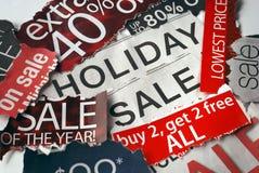 Varia festa sui segni di vendita Fotografia Stock Libera da Diritti