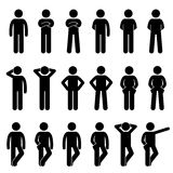 Varia figura umana diritta di base icone del bastone di posizioni di pose di linguaggi del corpo della gente dell'uomo del pittog illustrazione di stock