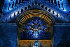 Varia illuminazione di notte del millennio della cattedrale da Timisoara Fotografia Stock Libera da Diritti