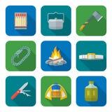 Varia raccolta di campeggio delle icone colorata stile piano Immagine Stock Libera da Diritti