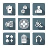 Varia raccolta di gioco monocromatica bianca delle icone Fotografia Stock