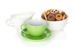 Varia tazza dei biscotti, del latte e di tè Fotografie Stock Libere da Diritti