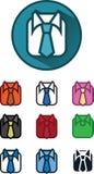 10 variabili dell'icona, camicia ed illustrazioni del legame, vettore Fotografia Stock