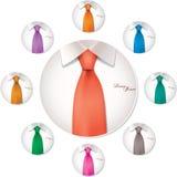 9 variabili di colore dell'illustrazione del legame e della camicia Fotografie Stock Libere da Diritti