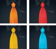 4 variabili di colore dell'illustrazione del legame e della camicia, camicia nera Fotografia Stock Libera da Diritti