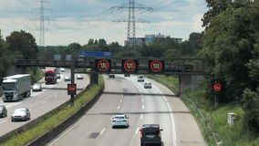 Variable-message sign on German highway A5 stock video