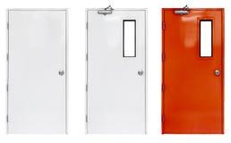 Variación de la puerta de la salida de socorro en condominio o del apartamento para la alarma de incendio de la emergencia fotografía de archivo