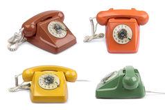 Variaciones del color del teléfono del vintage fijadas Foto de archivo libre de regalías