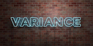VARIANCE - fluorescent Neon tube Sign on brickwork - Front view - 3D rendered royalty free stock picture Royalty Free Stock Photography