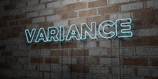 VARIANCE - Glowing Neon Sign on stonework wall - 3D rendered royalty free stock illustration Stock Photo