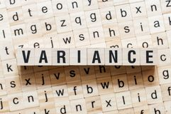 Variance word concept on cubes royalty free stock images