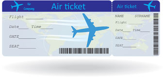 Variant of air ticket. Isolated on white. Vector illustration Stock Image
