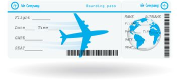 Variant of air ticket. Isolated on white. Vector illustration Stock Photography