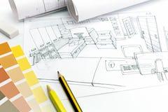 Variant av den funktionsdugliga ordningen av ett arkitektskrivbord Fotografering för Bildbyråer