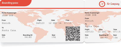 Variant of boarding pass Royalty Free Stock Photo