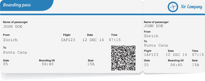 Variant of boarding pass. Isolated on white. Vector illustration Royalty Free Stock Photo