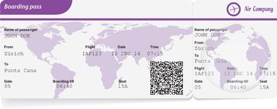 Variant of boarding pass. Isolated on white. Vector illustration Royalty Free Stock Image