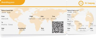 Variant of boarding pass Stock Photos