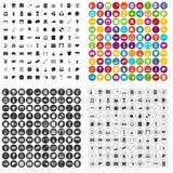variant för vektor för 100 fritidsymboler fastställd vektor illustrationer