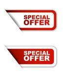 Variante de papier rouge de l'offre spéciale deux d'autocollant illustration de vecteur
