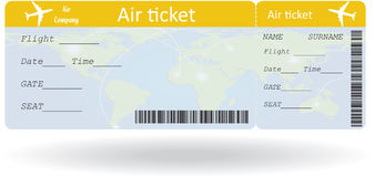 Variante del billete de avión Foto de archivo libre de regalías