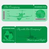 Variante del passaggio di imbarco di linea aerea Biglietto verde Fotografie Stock