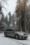Variante/Zustand Volkswagen Golfs MK7 in einem Kieferwald mit fallendem Schnee lizenzfreie stockbilder