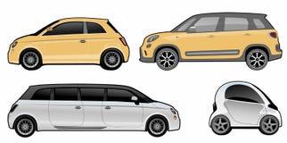 Varianten van een kleine auto Stock Foto's