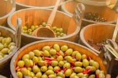 Varianten von Oliven Lizenzfreies Stockfoto