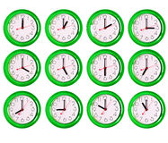 12 variantes d'isolement d'horloge Photo stock