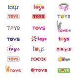 Variantes des logos et des icônes sur le thème des jouets du ` s d'enfants Vecteur Photographie stock