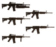 Varianti del fucile di assalto M4 Fotografia Stock Libera da Diritti