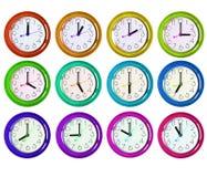 12 varianti isolate dell'orologio Immagine Stock Libera da Diritti